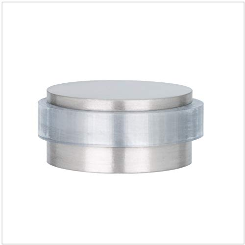 EVI Herrajes Tope de Puerta Decorativo Adhesivo, Tamaño Mini, Acero Inoxidable, Inox Mate - Goma Transparente, 28x12mm