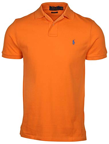 Polo Ralph Lauren Mens Custom Slim Fit Polo Shirt (Large, Bright Orange)