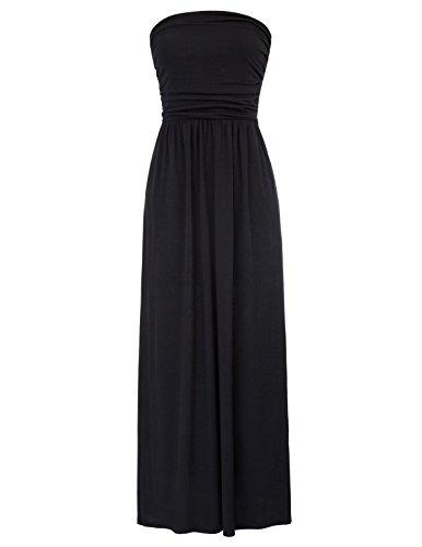 GRACE KARIN Women Strapless Boho Long Maxi Dress Beach Dress Size 2XL Black