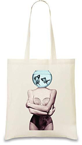 Aquarium Kopf Mädchen Zeichnung - Aquarium Head Girl Drawing Custom Printed Tote Bag  100% Soft Cotton  Natural Color & Eco-Friendly  Unique, Re-Usable & Stylish Handbag For Every Day Use  Custom