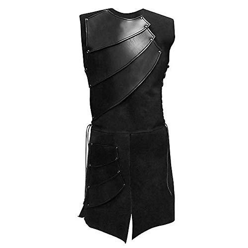 KPILP Herren Mode Oberteile Party Mittelalterlich Leder Patchwork Weste Geschnürt Ärmellose Cosplay Kostüm Bluse(Schwarz, EU-50/CN-XL