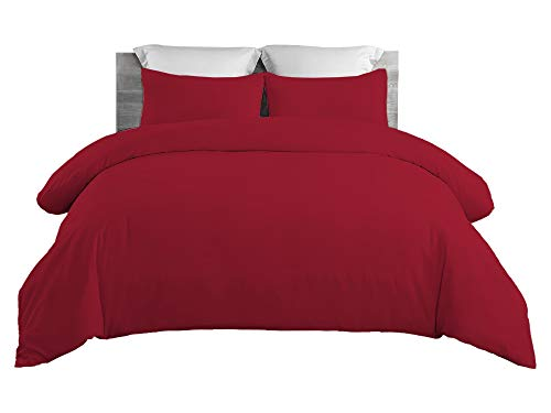 Comfort Valley Percale Duvet Cover 3pcs Bedding Set, Easy Care Plain Dyed - Solid Color - Soft and Breathable (Red, Single)