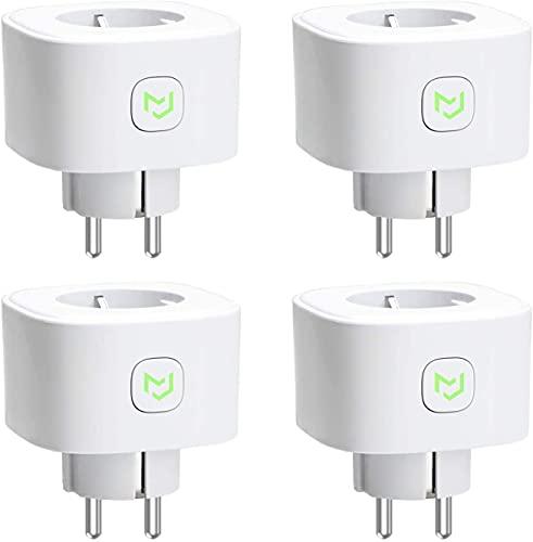 Enchufe Inteligente 16A 3680W, con Control Remoto Meross app, Compatible con Alexa, Google Assistant y SmartThings, Wi-Fi Smart Plug. Paquete de 4