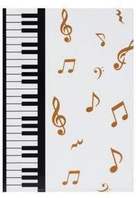 Piano line A4クリアファイル ゴールド音符 ト音記号&鍵盤柄 マーチ ピアノライン (5)