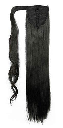 Hair Extensions Wrap on Ponytail Extension Capelli Veri Coda di Cavallo Parrucchino Ombre 66cm Dritto Nero naturale