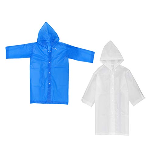 Garneck 2 Stks Kid Hooded Regen Ponchos Waterdichte Anti-speeksel Splash Noodregenjassen Doorschijnende Regenjas voor buiten Camping (Blauw Roze) M Blauw wit