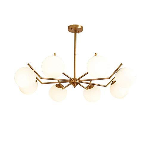 WEM Candelabro, Iluminación colgante de mediados de siglo Sputnik Candelabro de 8 luces Moderno Latón cepillado E14 Lámpara de techo Globo de vidrio soplado a mano Lámpara colgante Dorado 8 luces,dor