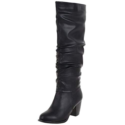 Zanpa Damen Klassisch Westernstiefel Pull On Kniestiefel Blockabsatzabsatz High Winter Stiefelschuhe Slouch Stiefel Black Gr 48