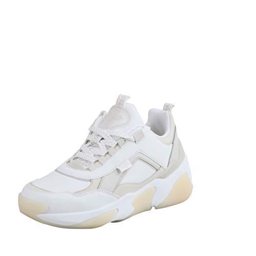 Buffalo Damen Low-Top Sneaker Lean B, Damen Halbschuhe,Sportschuhe,keil,Sneaker,Wedge,Keilabsatz,Heel,Lady,Weiß (Offwhite/BEIGE),38 EU / 5 UK