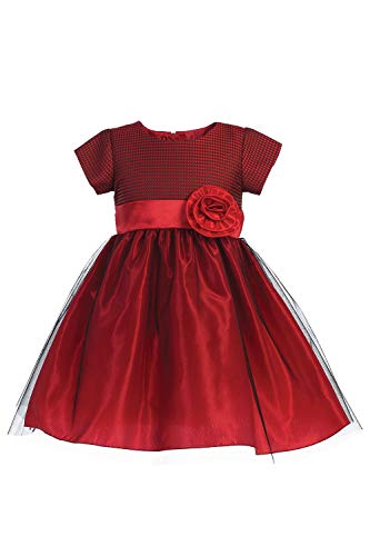 Pink Princess Christmas Dresses for Girls - Red Burgundy Long Sleeve Baby Boy Toddler Outfits - Made in USA (Short Sleeve Dress, 7)