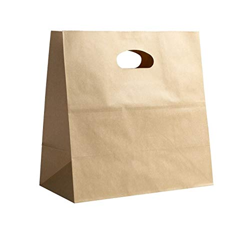 PTP BAGS Natural 11' x 6' x 11' Die Cut Tote Bags [Pack of 500] Kraft Paper Gift, Food Service Bags