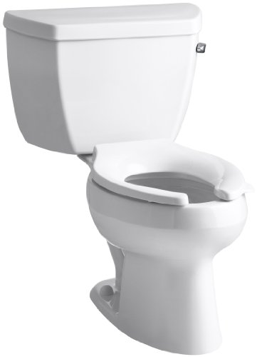 Kohler K-3531-TR-0 Wellworth Classic Pressure Lite Elongated 1.0 gpf Toilet with Tank Cover Locks and Right-Hand Trip Lever, Less Seat, White