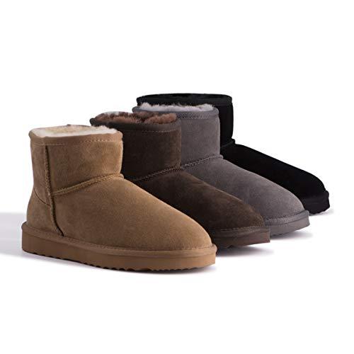 Aus Wooli Australia Short Sheepskin Ankle Boot - Grey - US Women 9/US Men 8