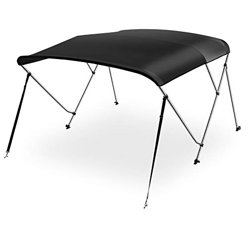 "Waterproof Boat Bimini Top Cover - 73-78""W 3 Bow Bimini Top Canvas Sun Shade Boat Canopy -1"" Double Wall Aluminum Frame Tube, 2 Straps 2 Rear Support Poles, Storage Boot -SereneLife SLBT3BK731 (Black)"