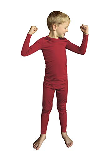 POPINJAY Boys Fleece Thermal Set – Kids Long Sleeve Shirt and Pants Underwear… (Medium, Red)