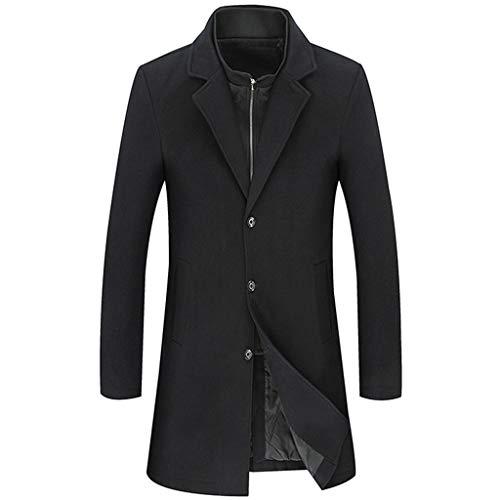 NHX Mens Wollmäntel und Jacken Trenchcoats Einreiher Mantel Business Casual Mid-Langer Mantel für Herbst und Winter,Black-6XL