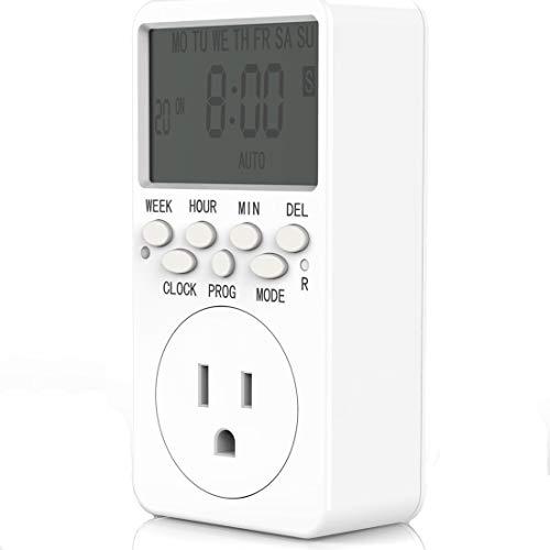Outlet Timer, Digital Countdown Plug-in Timer Outlet, 7 Day Weekly Programmable 110V AC Power Outlet Timer, Energy-Saving Indoor Timer Plug