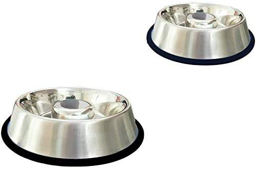 King International Stainless Steel Slow Feed Dog Bowl with a Silicone Base-Set of 2 | Medium 9.6'' | Slow Feeder Dog Bowls Useful for Dog Food Gulping, Bloat and Rapid Eating
