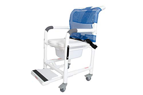 Deluxe Rolling Shower Chair with Drop Arms, Padded Seat, Non-Slip Locking Casters, Seat Belt, Slide Out Footrest and Commode Pail. 300 lb. Capacity, Fits Over Standard Toilet.