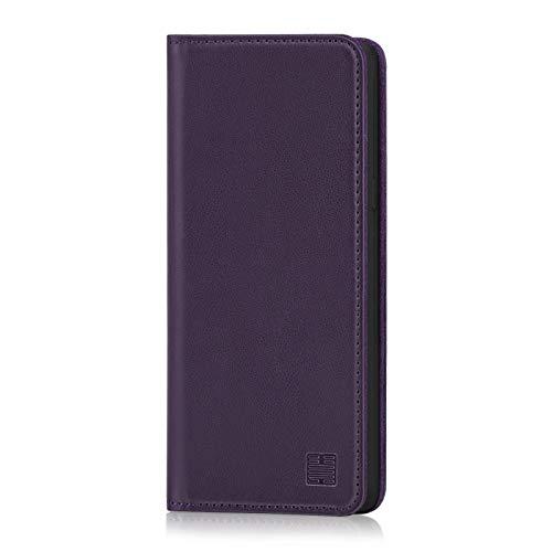 32nd Klassische Series - Lederhülle Hülle Cover für LG V50 ThinQ, Echtleder Hülle Entwurf gemacht Mit Kartensteckplatz, Magnetisch & Standfuß - Aubergine