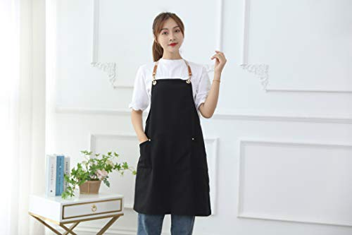 エプロン、クロスバックデザイン無地エプロン、調節可能なベルトとポケット、防汚性と耐久性、家庭料理、レストラン、手工芸品、庭、バーベキュー、コーヒーショップに最適 (黒)
