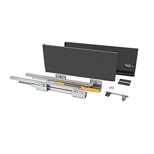 EMUCA - Kit de cajón para Cocina o baño con guias de extracción Total y Cierre Suave, Altura 185mm y Profundidad 500mm, Gris Antracita