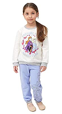 Disney Frozen Toddler Baby Girls Crew Neck Sweatshirt and Legging Set, Rose White/Steel Blue/Grey, 2T