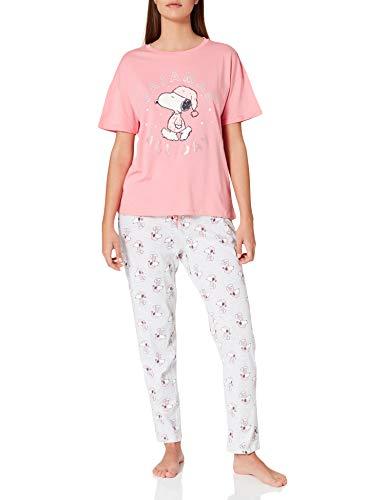 Women' Secret Pijama Largo Manga Corta algodón Snoopy, Rosa, XS para Mujer