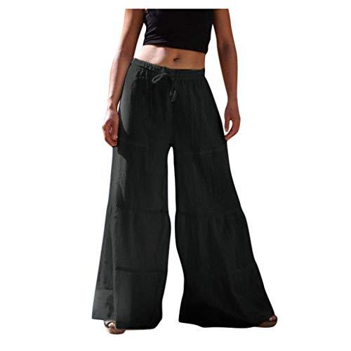 aihihe Wide Leg Pants for Women Plus Size Boho Flowy High Waisted Micro Pleated Palazzo Pants Trouser Black