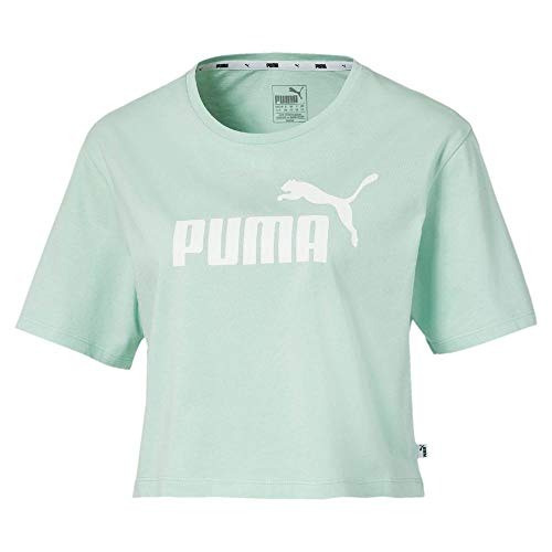 PUMA ESS+ Cropped Logo Tee Top, Damen, Mist Green, XS