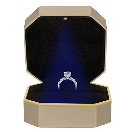 Velvet - Caja para anillos con luz LED, caja para anillos, expositor,...