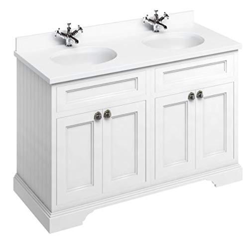 Casa Padrino Doppel Waschschrank/Waschtisch mit Marmorplatte und 4 Türen 130 x 55 x H. 93 cm, Farbe Badmöbel:mattweiß