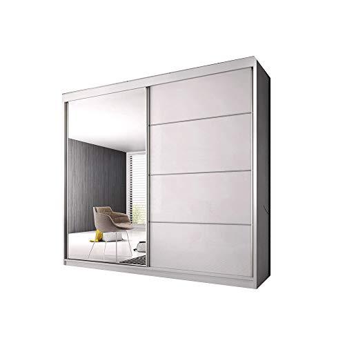 E-MEUBLES Armoire de Chambre avec 2 Portes coulissantes | Penderie (Tringle) avec étagères (LxHxP): 203x218x61 K006 (Blanc Mat/Blanc Semi-Brillant+ Miroir)
