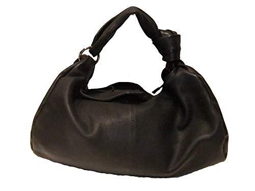 Estelle Damen Schulterhenkeltasche Beutelform Leder 0199 schwarz