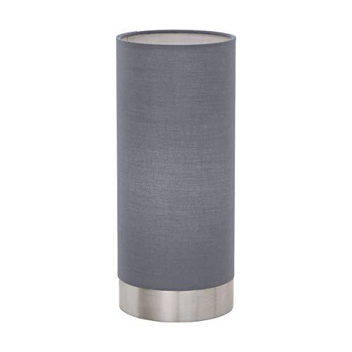 EGLO Lámpara de mesa Pasteri, 1 luz de mesa textil lámpara de mesa de noche de acero y tela, color: níquel mate, gris, casquillo E27, incluye tocador, altura: 25,6 cm