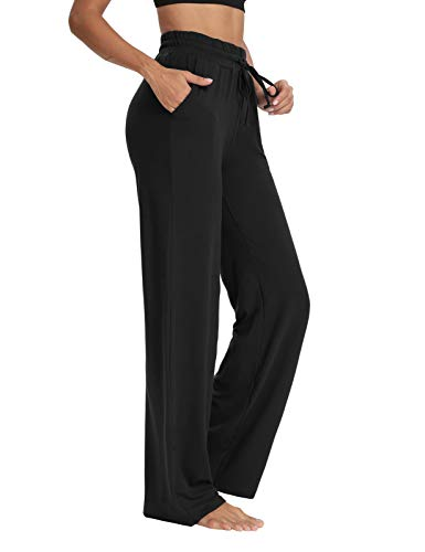 Sarin Mathews Womens Yoga Sweatpants Wide Leg Lounge Pajamas Pants Comfy Drawstring Workout Joggers Pants with Pockets Black XL