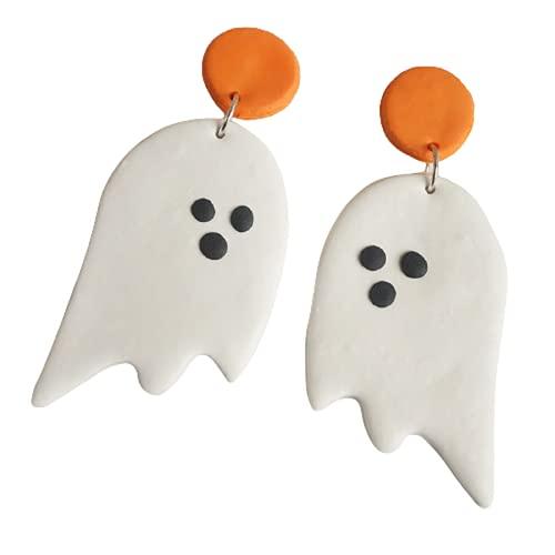 Funny Halloween Clay Pumpkin Ghost Cartoon Drop Earrings Handmade Polymer Clay Ghost Bat Pumpkin Alien Witch Dangle Earrings for Women Girl Festive Costume Party Jewelry-A ghost