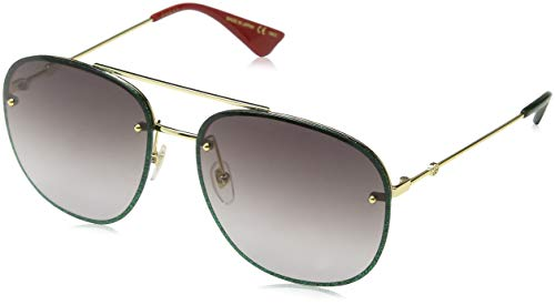 GUCCI GG0227S-001 Gafas de sol, Oro/Brillo Verde, 62 Unisex
