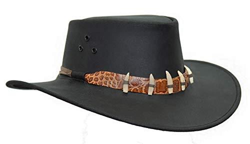 Kakadu Traders - Cappello in pelle Croc, con dentini e coccodrillo, da uomo e da donna, 2° scelta Nero XL