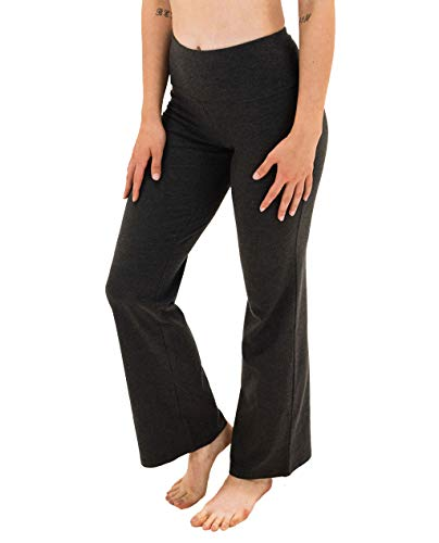 Spalding Women's Misses Activewear High Waisted Bootleg Yoga Pant, Charcoal Heather, S