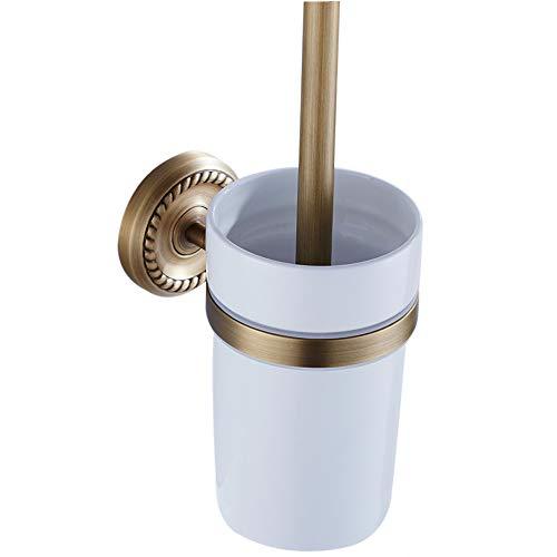 Weare Home bagno camera antica intagliati Toilette Spazzola tazza di ceramica giallo tutti rame ottone porta scopino WC
