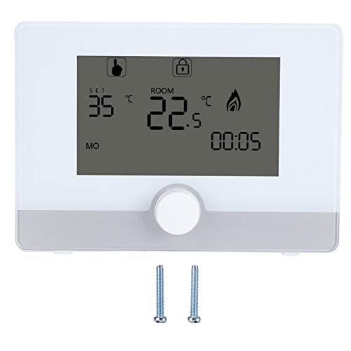 Termostato programable, controlador de temperatura de termostato programable digital Wilecolly para sistema de calefacción de caldera de pared(blanco)