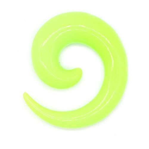 2 uds 1,2-20mm medidores de oreja en espiral acrílicos falsos tapones de estiramiento expansores de túnel joyería de perforación del cuerpo del lóbulo de la oreja-F-Verde_6 mm