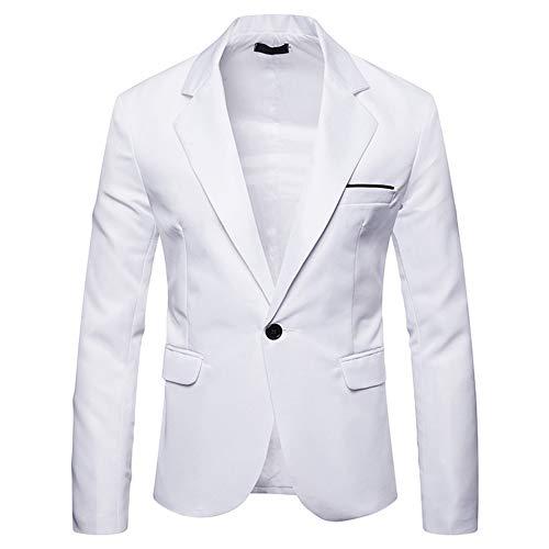Youthup - Blazer da uomo slim fit, formale, elegante, alla moda, moderno, per giacca e cravatta, matrimonio o ballo bianco XXL