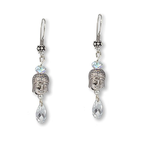 Anisch de la Cara Damen Ohrring Crystal-Silver - Buddha Ohrringe mit Swarovski-Kristallen Tibet Ohrschmuck - ArtNr. 3390-c
