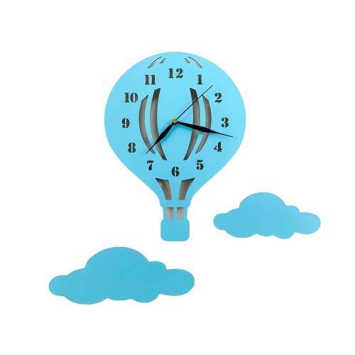 BABEES Kinder Wanduhr Ballon mit Wolken, Uhr ohne Tickgeräusche, Kinderuhr Heißluftballon für Kinderzimmer, Lautlos Uhrwerk, Wanddeko Scandi Deko Junge Blau