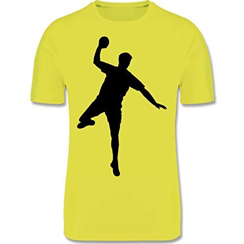 Sport Kind - Handball Wurf - 164 (14/15 Jahre) - Neon Gelb - Tshirt 152 Jungen - F350K - atmungsaktives Laufshirt/Funktionsshirt für Mädchen und Jungen