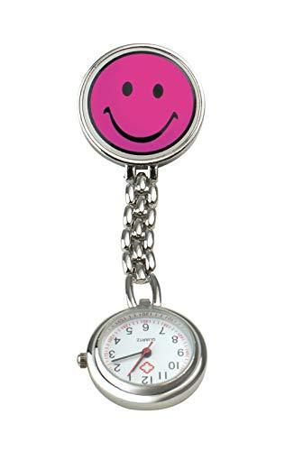 Pflegehome24 Schwesternuhr Smiley Pulsuhr Krankenschwesteruhr Kitteluhr Pflegeuhr mit Clip, (Pink)