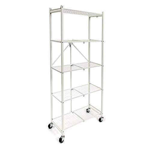 VASAGLE 4-Tier Corner Shelf Unit, Freestanding Display Storage Shelves and Wooden Bookcase, for Kitchen, Living Room, Study Room, Rustic Brown ULBC71BX