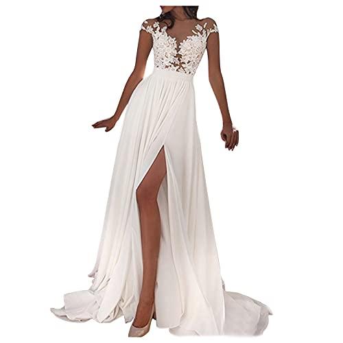 Mujer Vestido Blanco Largo de Encaje Vestidos Sexy con Cuello en V...